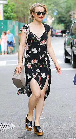 Rachel McAdams wearing a MINKPINK Moon Flower Midi Dress, Etnia Africa sunglasses and Tory Burch Infinity T clog sandals while out and about in New York City on July 23, 2015.