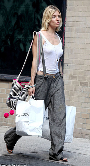 Sienna Miller out and about shopping with her Sophie Anderson Lilla Bucket Bag in tow in New York on July 21, 2015.