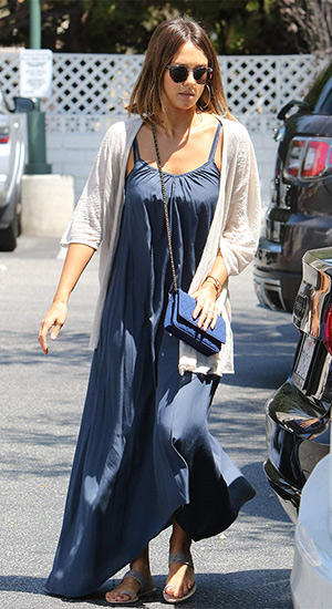 Jessica Alba wearing a Inhabit Sheer Slub Cardi, Pink Stitch the Label Resort Maxi Dress, Chanel bag and Ariat toe-ring sandals while shopping at Bristol Farms in Los Angeles, CA on July 26, 2015.