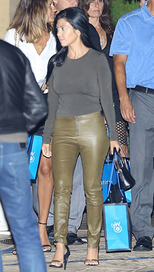 Kourtney Kardashian wearing a Alice + Olivia Forest Green Front-Zip Leggings while leaving Nobu after a Haute Living event on August 24, 2015 in Los Angeles, CA.