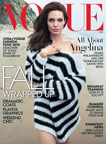 Angelina Jolie wearing a Saint Laurent striped loose knit sweater for Vogue magazine, November 2015.