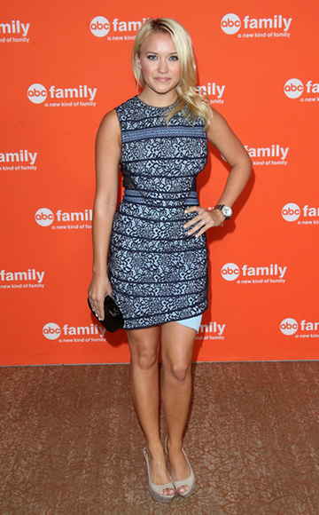 Emily Osment wearing a Three Floor Hart to Heart Dress to the Disney & ABC Television Group's TCA Summer Press Tour on July 15, 2014 in Beverly Hills, CA.