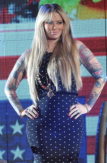 Jenna Jameson wearing a Torn by Ronny Kobo Edna Polka Dot Top and matching skirt as she exits the Celebrity Big Brother UK house during a fake eviction on September 11, 2015 in Borehamwood, England.