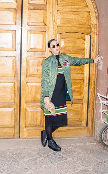 Suno Striped Turtleneck Midi Dress as seen on Katy Perry