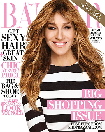 Sarah Jessica Parker wearing a Valentino Black & White Striped Dress on the cover of Harper's Bazaar, October 2015.