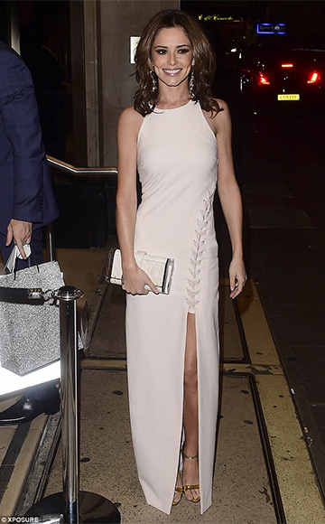 Cheryl Fernandez-Versini in a Elizabeth and James Amya Asymmetrical Lace-Up Gown at Ant and Dec's birthday party in London, England on October 15, 2015.