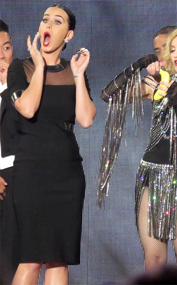 Thierry Mugler Mirrored Faux Leather-trimmed Dress as seen on Katy Perry at Madonna concert