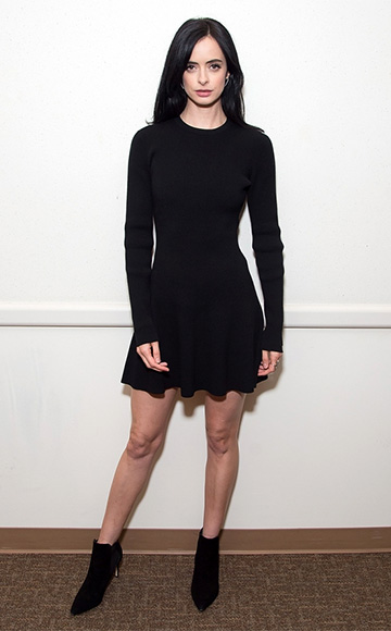 Krysten Ritter, in a A.L.C. Miriam Long-sleeve A-line Knit Dress and Tory Burch Dorset Booties, promoting her new Netflix series at New York Comic-Con on October 10, 2015 in New York City.