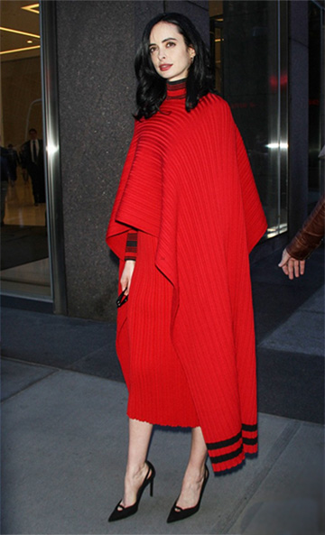 Salvatore Ferragamo Ribbed Stripe Detail Cape as seen on Krysten Ritter promoting Jessica Jones