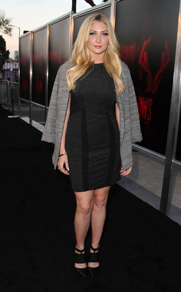 """Taylor-Ann Hasselhoff in a sleeveless Fashion Nova Metallic Colorblock Dress at """"The Gallows"""" premiere at Hollywood High School on July 7, 2015 in Los Angeles, CA."""