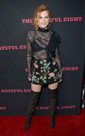 Bella Thorne wearing a Topshop Floral Embroidered A-Line Skirt with Alice + Olivia Dionera Over The Knee Boots.