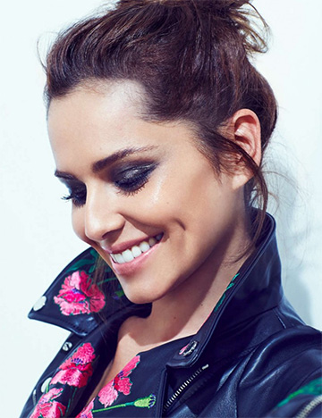 Cheryl Fernandez-Versini Christopher Kane floral embroidered biker jacket for 2016 calendar.