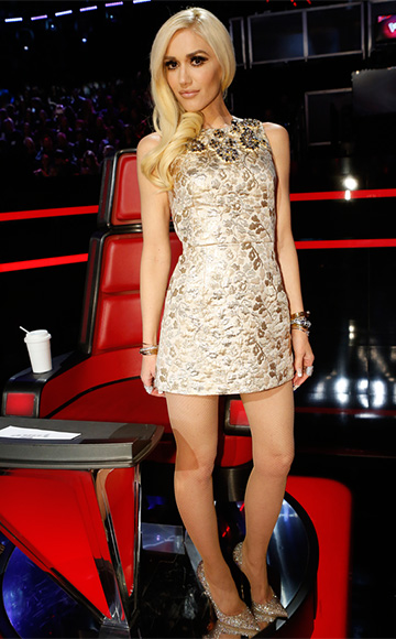Gwen Stefani wearing a Dolce & Gabbana Sleeveless Gold Embellished Dress on The Voice, December 2015