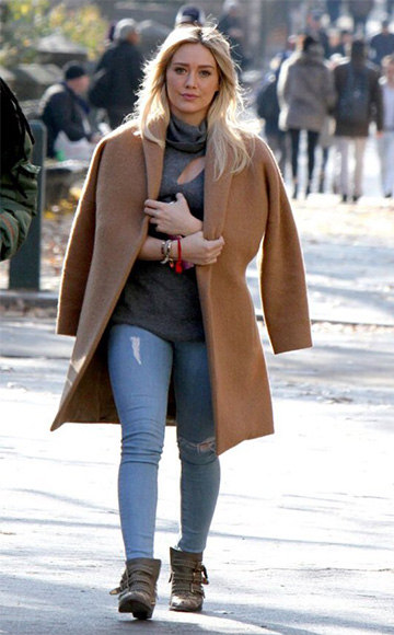 Hilary Duff spotted in NYC (December 8) in a A.L.C. Billy Turtleneck Sweater and Chloe Suzanna Studded Ankle Boots