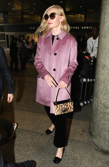 Kate Bosworth in a Burberry Single-Breasted Llama Hair Coat at LAX, December 2015