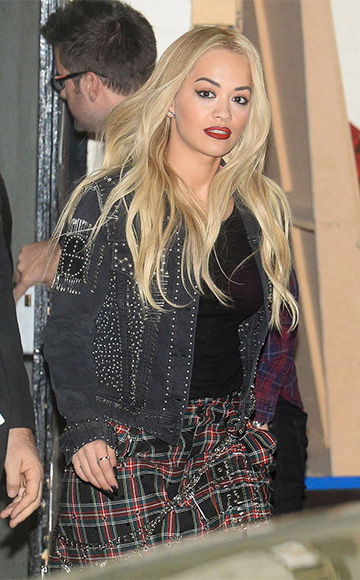 Rita Ora in Diesel heavy metal denim trucker jacket