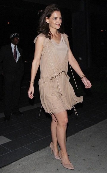 Chloé Ruffled Silk-chiffon Mini Dress as seen on Katie Holmes