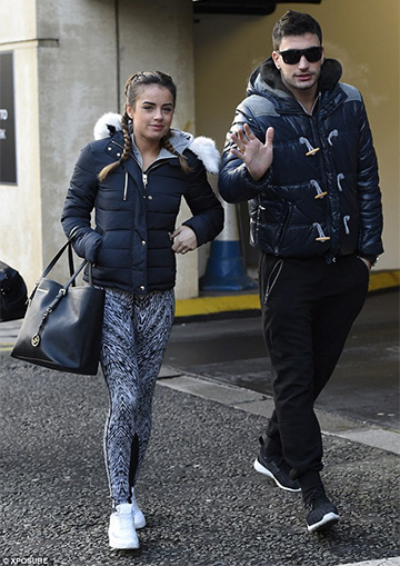 Topshop Quilted Jacket w/ Faux Fur Hood Trim as seen on Georgia May Foote
