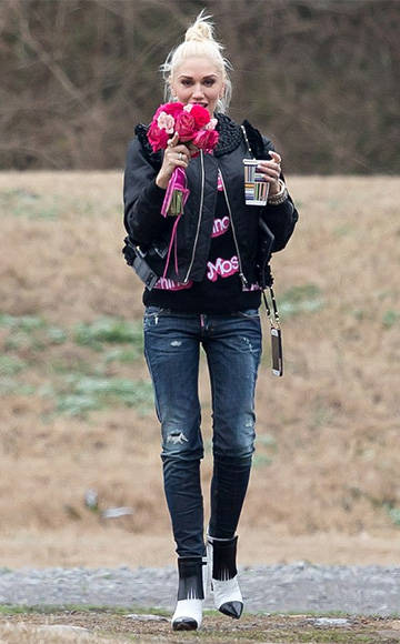 Moschino Black Think Pink Sweater as seen on Gwen Stefani