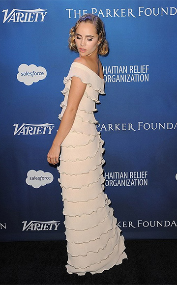 Huishan Zhang Cap Sleeve Tiered Gown as seen on Suki Waterhouse