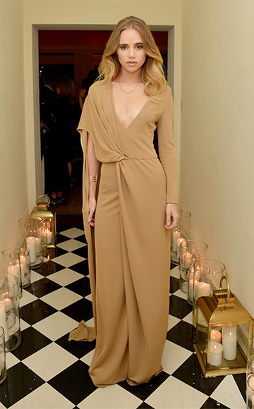 Rosetta Getty One Sleeve V Neck Dress as seen on Suki Waterhouse