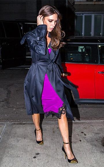Balmain Lilea Velvet & Metallic Leather Pumps as seen on Victoria Beckham