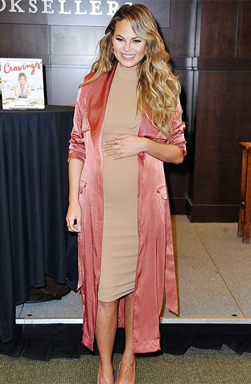 House of CB Madelie Copper Satin Duster Coat as seen on Chrissy Teigen