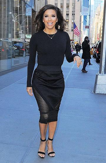 Jonathan Simkhai Mesh-Paneled Skirt as seen on Eva Longoria