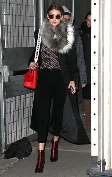 DVF Chessa Crewneck Pullover Sweater as seen on Gigi Hadid