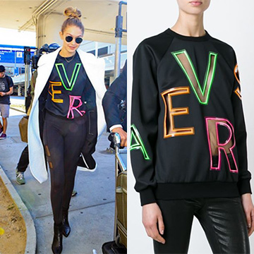 Versace Mesh Logo Sweatshirt as seen on Gigi Hadid