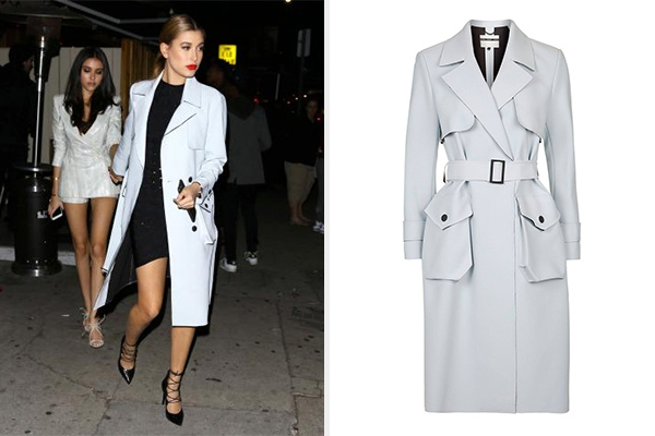 Hailey Baldwin Pale Blue Topshop Truster Coat