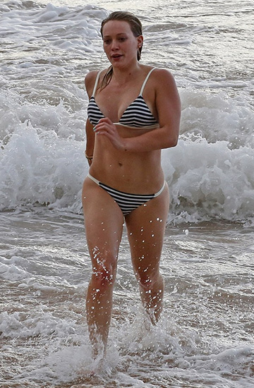 Solid & Striped Black & White Stripe Morgan Bikini as seen on Hilary Duff