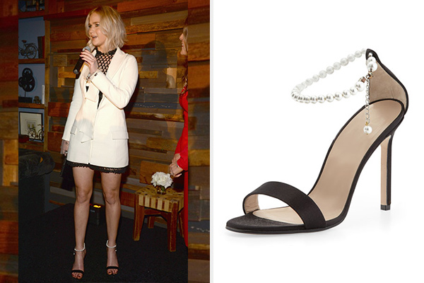 Manolo Blahnik Chaos Pearly Ankle-Wrap Sandals as seen on Jennifer Lawrence