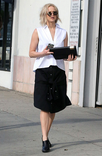 T By Alexander Wang Sleeve Waist Tie Poplin Skirt as seen on Jennifer Lawrence