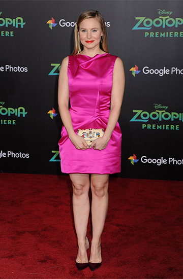 Roland Mouret Zonda Satin Mini Dress as seen on Kristen Bell