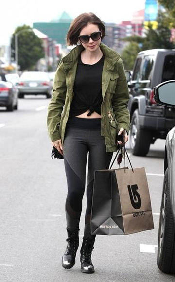 Express Color Block Mesh Inset EXP Core Leggings as seen on Lily Collins