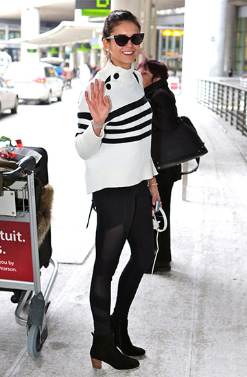 Kate Spade Stripe Mock Neck Sweater as seen on Nina Dobrev