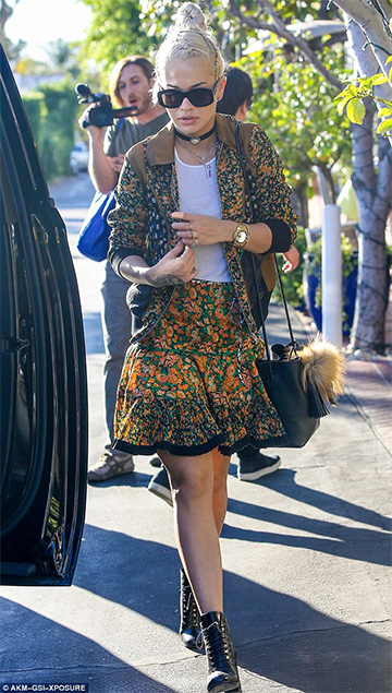 Coach Paneled Yellow Skirt as seen on Rita Ora