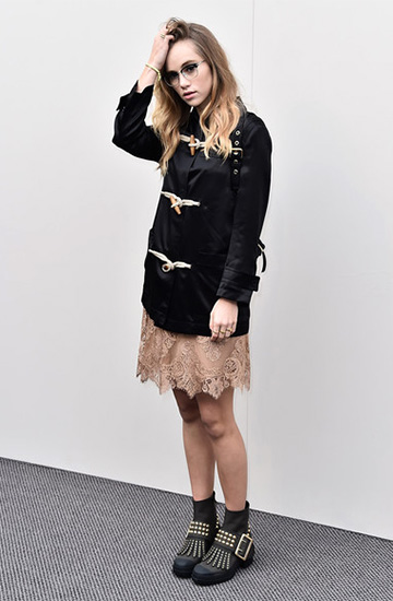 Burberry Chantilly Lace Scalloped Kilt Skirt as seen on Suki Waterhouse