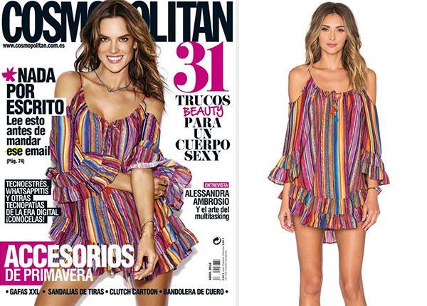 Alessandra Ambrosio in a Ale By Alessandra Bahia Coast Ruffle Cold Shoulder Dress for Cosmopolitan Spain April 2016