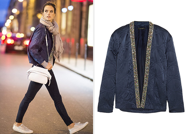 Isabel Marant Jasia Embellished Silk Jacket as seen on Alessandra Ambrosio