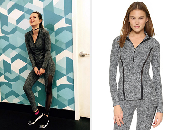 Beyond Yoga Space Dye Stripe Half Zip Top as seen on Bella Thorne