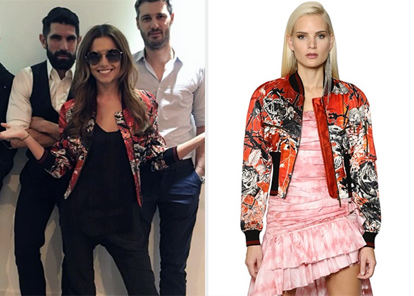 Roberto Cavalli Floral & Snake Print Satin Bomber Jacket as seen on Cheryl Cole