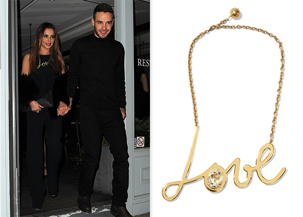 Lanvin Love Gold-Tone Swarovski Crystal Necklace as seen on Cheryl Cole