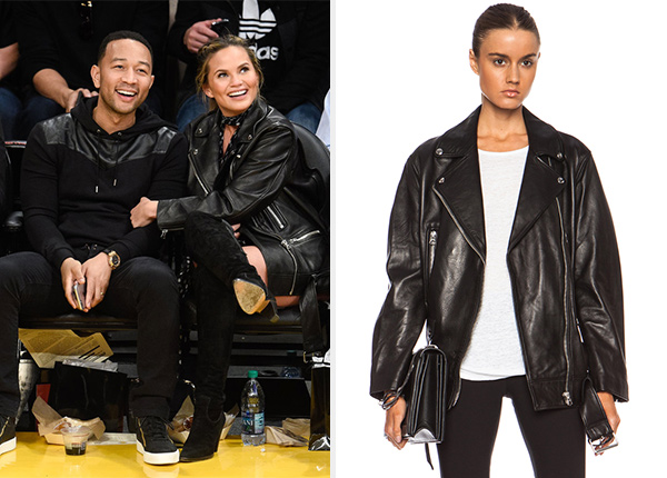 Acne Studios More Leather Jacket as seen on Chrissy Teigen