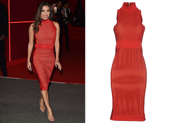 Balmain Sleeveless Mandarin Collar Knitted Dress as seen on Eva Longoria