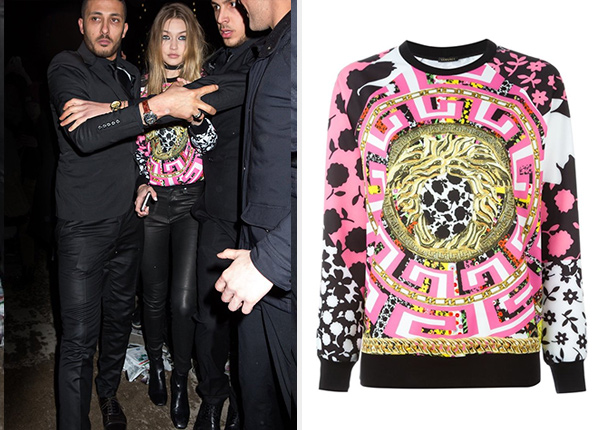 Versace Medusa Mix Print Sweatshirt as seen on Gigi Hadid