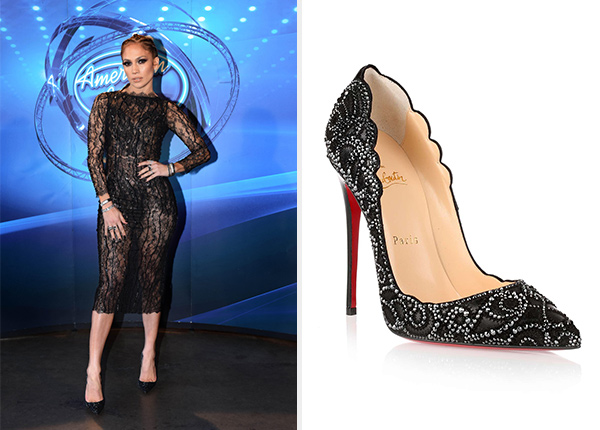 Jennifer Lopez Christian Louboutin Top Vague Crystal Pumps