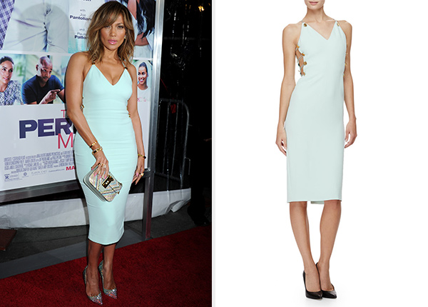 Cushnie et Ochs Sleeveless Button-Side Sheath Dress as seen on Jennifer Lopez