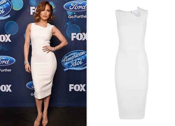 Victoria Beckham Sleeveless Asymmetric-Neck Sheath Mini Dress as seen on Jennifer Lopez